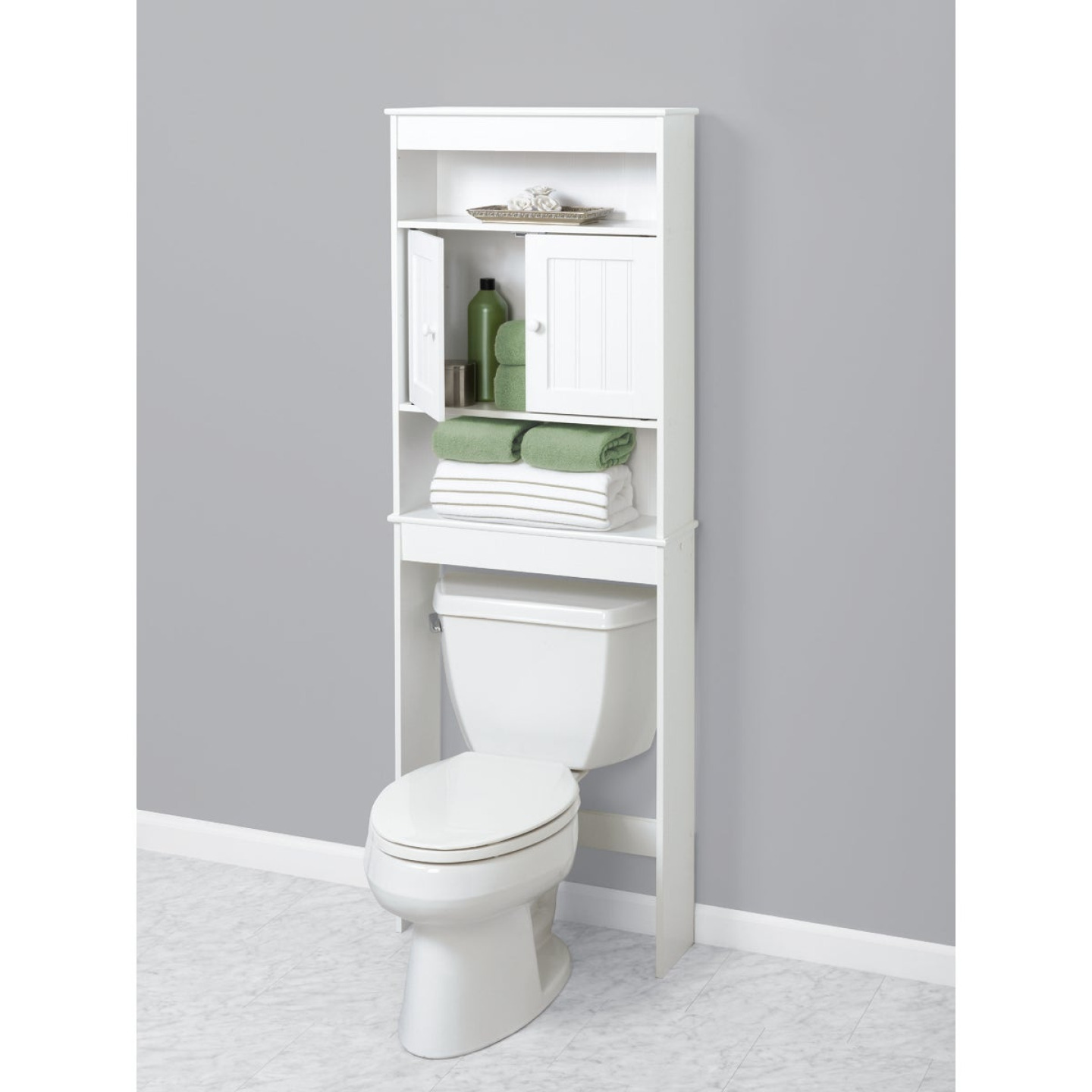Zenith Country Cottage White Over-the-Toilet Cabinet, 2 Door/3 Shelf Image 3