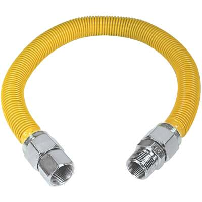 Dormont 1 In. OD x 36 In. Coated Stainless Steel Gas Connector, 3/4 In. FIP x 3/4 In. MIP (Tapped 1/2 In. FIP)