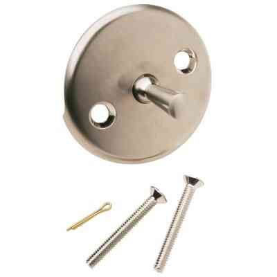 Do it Two-Hole Brushed Nickel Bath Drain Face Plate with Trip Lever