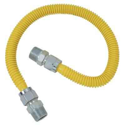Dormont 5/8 In. OD x 24 In. Coated Stainless Steel Gas Connector, 3/4 In. MIP x 1/2 In. MIP (Tapped 3/8 In. FIP)