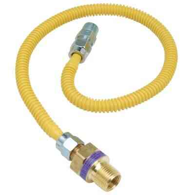 Dormont 3/8 In. OD x 24 In. Coated Stainless Steel Gas Connector, 3/8 In. MIP (Tapped 1/4 In. FIP) x 1/2 In. MIP SmartSense