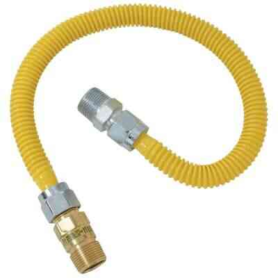 Dormont 5/8 In. OD x 24 In. Coated Stainless Steel Gas Connector, 1/2 In. MIP (Tapped 3/8 In. FIP) x 1/2 In. MIP SmartSense