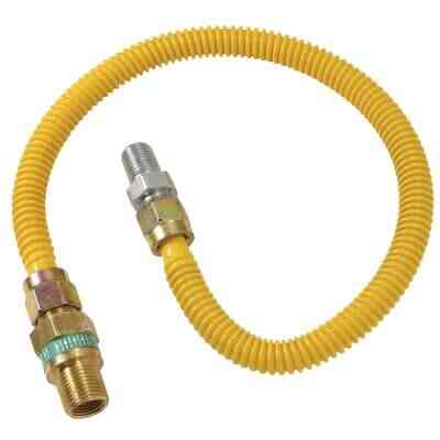 Dormont 1/2 In. OD x 36 In. Coated Stainless Steel Gas Connector, 1/2 In. MIP (Tapped 3/8 In. FIP) x 1/2 In. MIP SmartSense