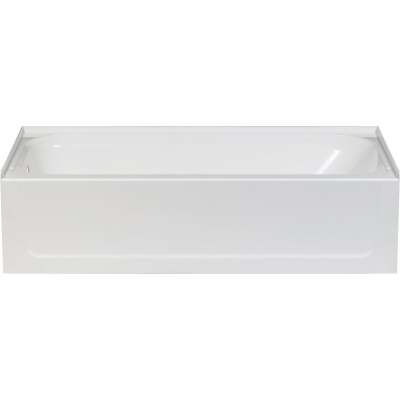 Mustee Topaz 60 In. L x 30 In. W x 16-1/2 In. D Left Drain Bathtub in White