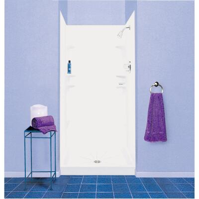 Mustee Durawall Model 247 5-Piece 48 In. W x 42 In. D Shower Wall Set in White