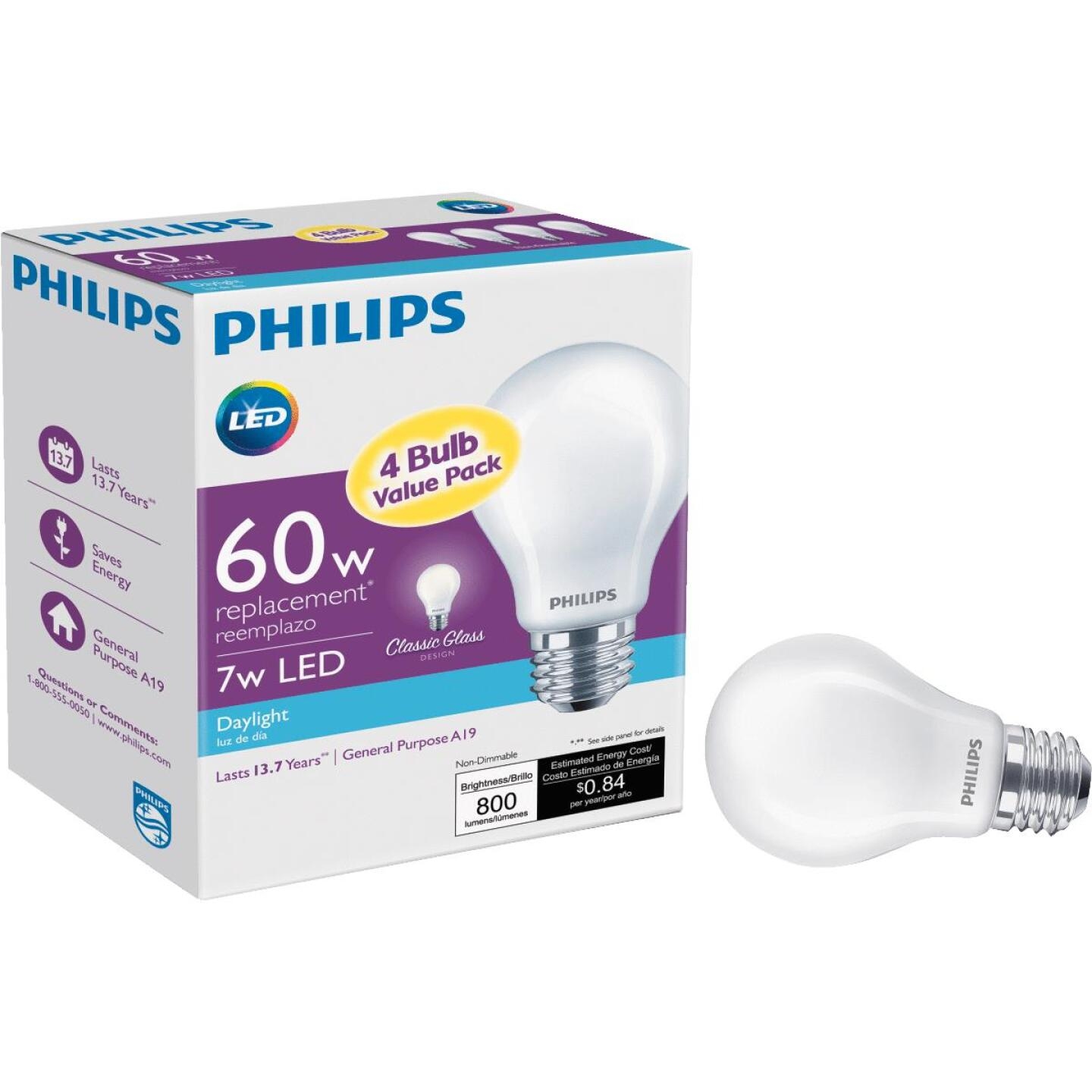 Philips 60W Equivalent Daylight A19 Medium LED Light Bulb (4-Pack) Image 1