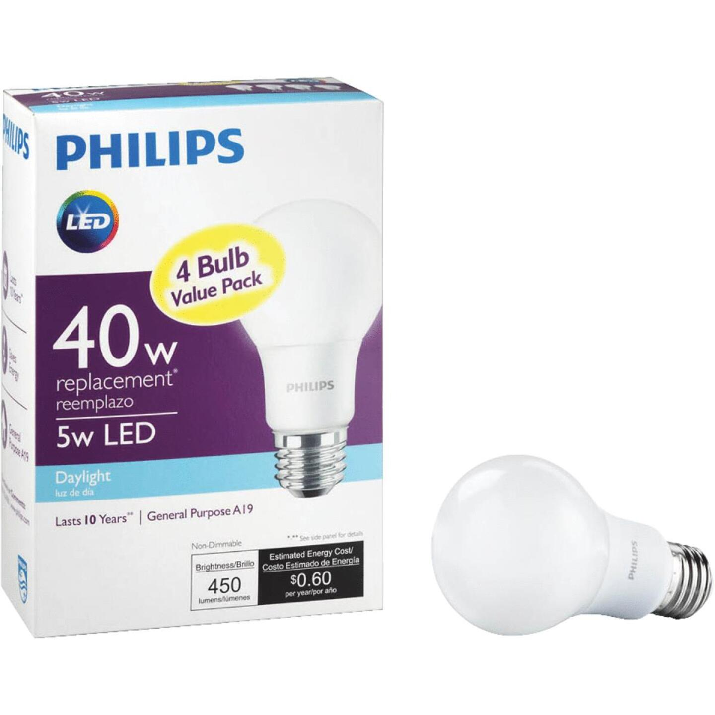 Philips 40W Equivalent Daylight A19 Medium LED Light Bulb (4-Pack) Image 1