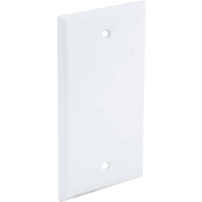 Bell Single Gang Rectangular Die-Cast Metal White Blank Outdoor Box Cover, Carded