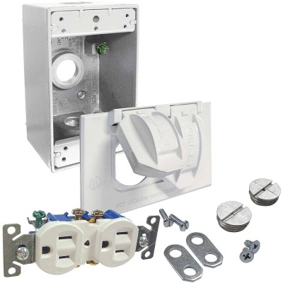 Bell White Horizontal Mount Tamper Resistant Outdoor Outlet Kit