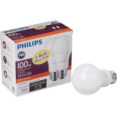 Philips 100W Equivalent Soft White A19 Medium LED Light Bulb (2-Pack)