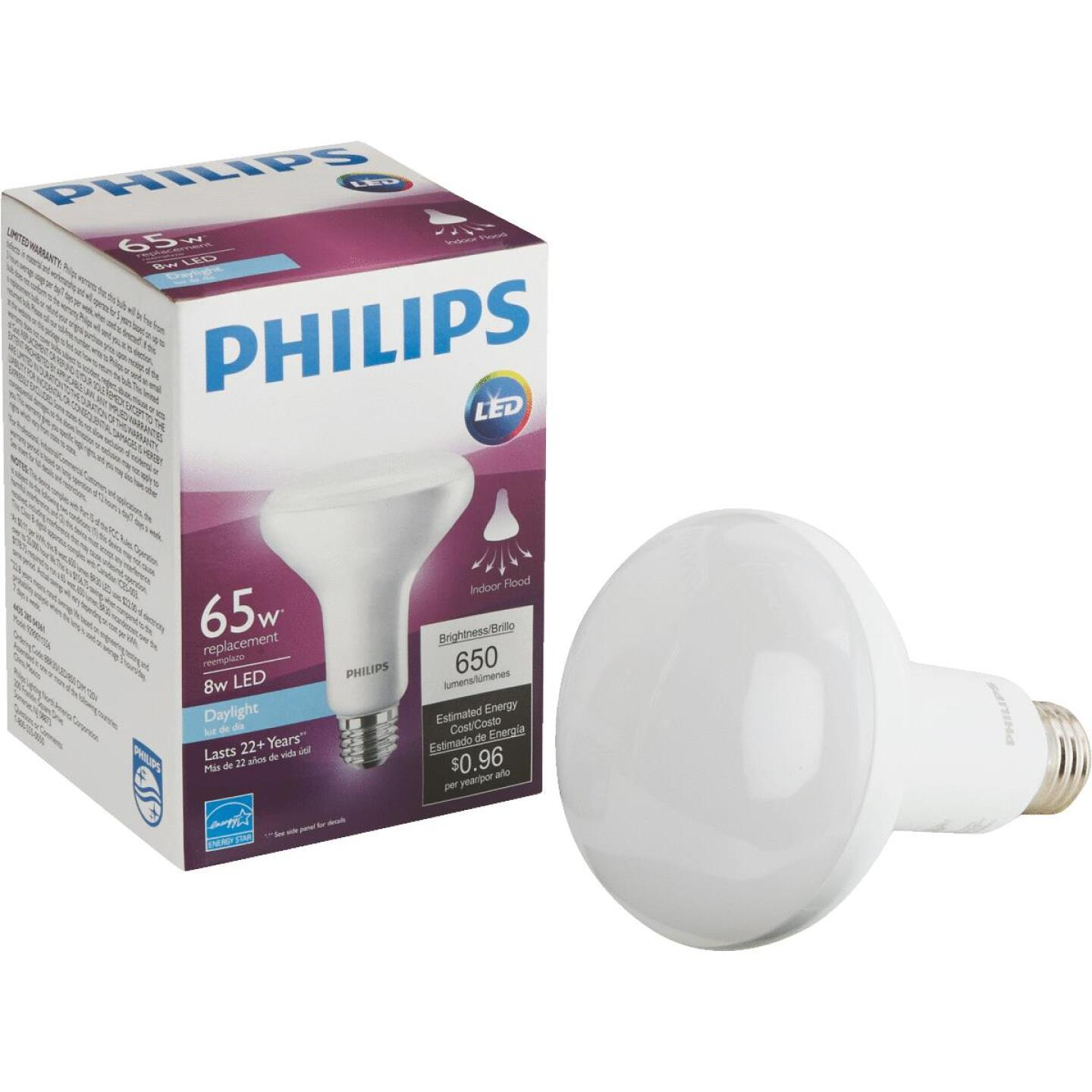 Philips 65W Equivalent Daylight BR30 Medium Dimmable LED Floodlight Light Bulb Image 1