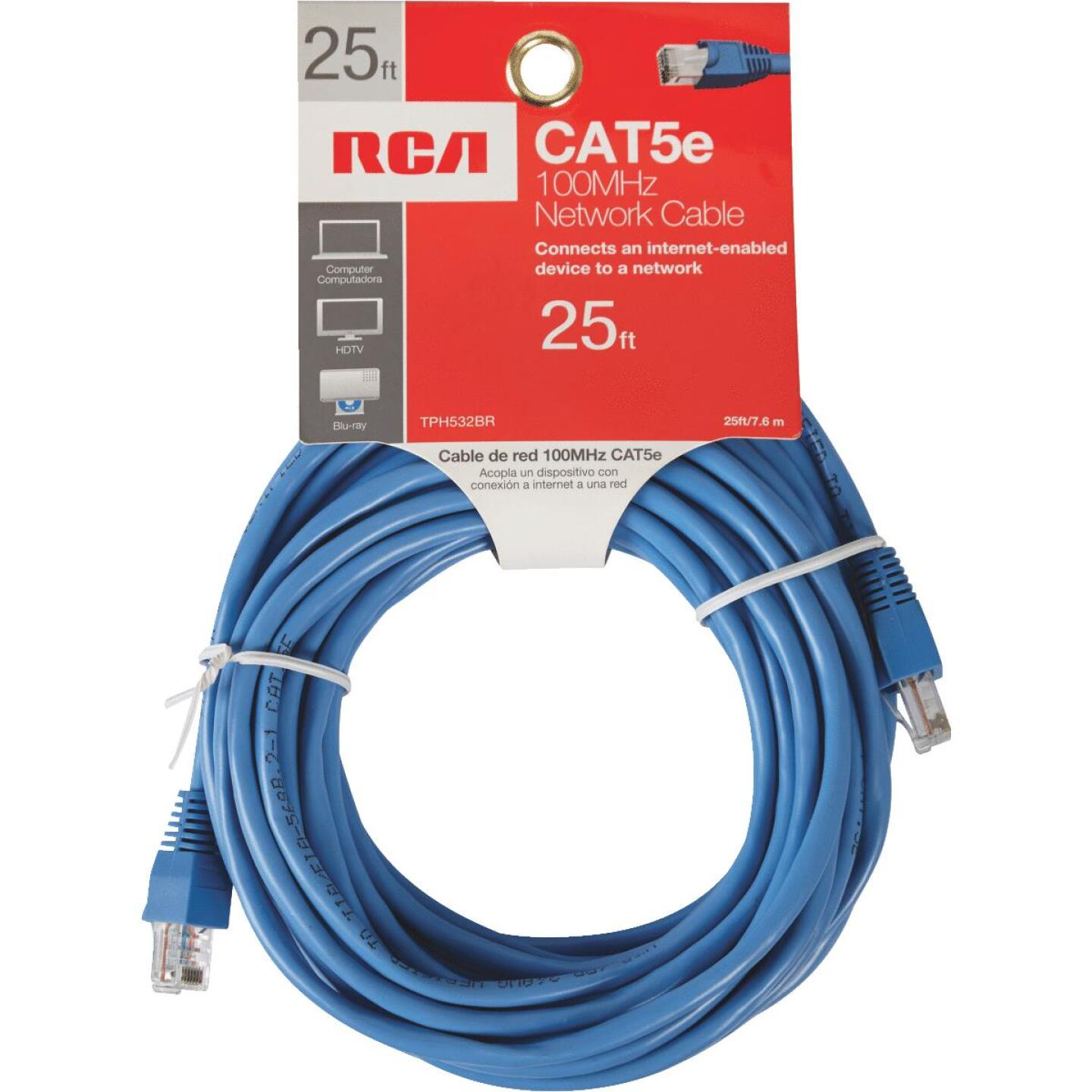 RCA 25 Ft. CAT-5 Blue Network Cable Image 2