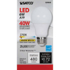 Satco 40W Equivalent Warm White A19 Medium Dimmable LED Light Bulb Image 2