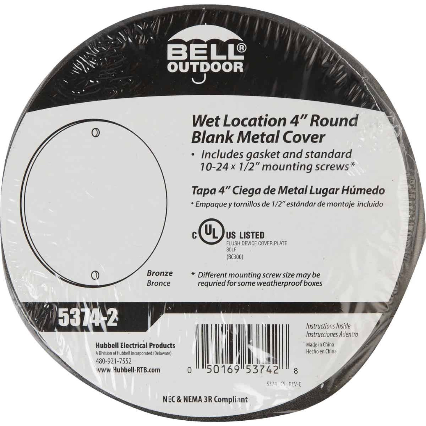 Bell Single Gang Round Die-Cast Metal Bronze Blank Outdoor Box Cover, Shrink Wrapped Image 2