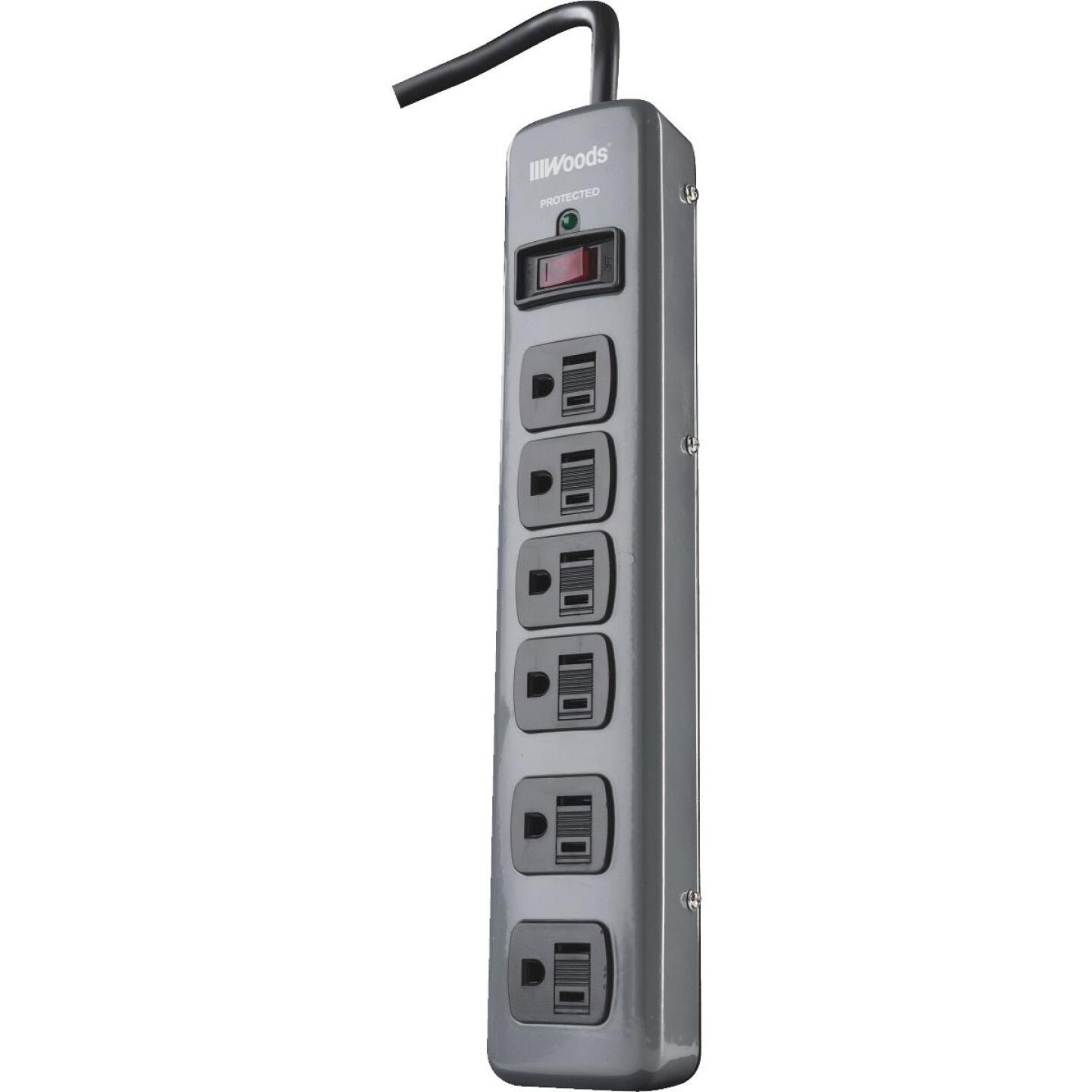 Woods 6-Outlet 900J Dark Gray Surge Protector Strip with 3 Ft. Cord Image 1