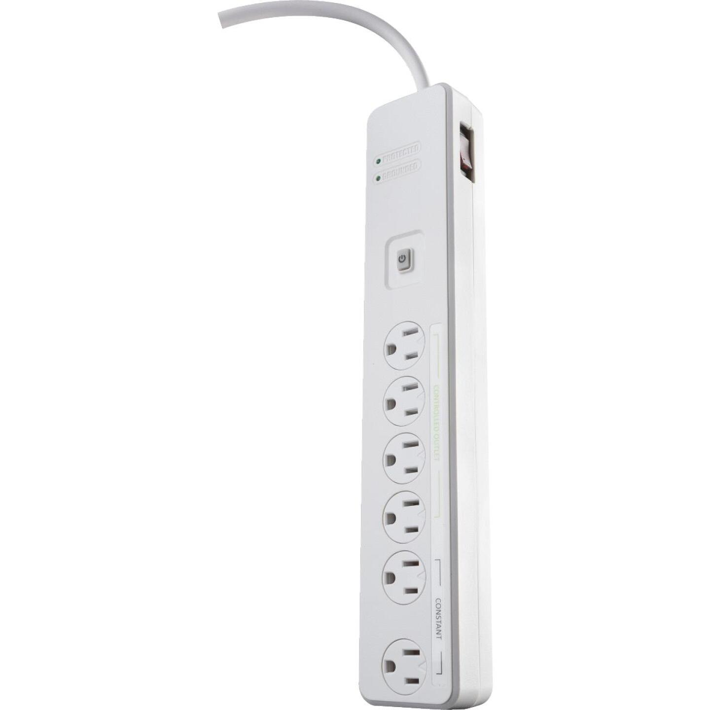 Woods 6-Outlet 1080J White Surge Protector Strip with Remote Control & 5 Ft. Cord Image 1