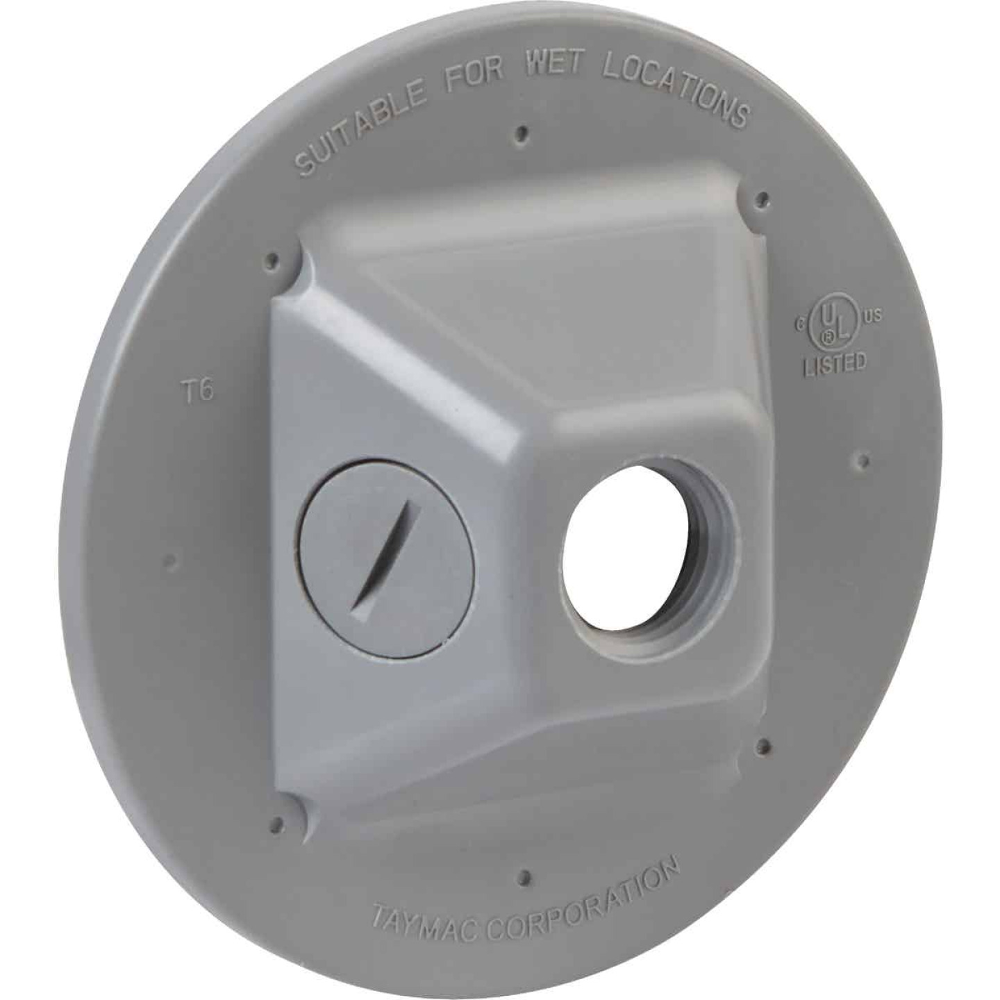 TayMac 3-Outlet Round Polycarbonate Gray Weatherproof Outdoor Box Cover Image 3