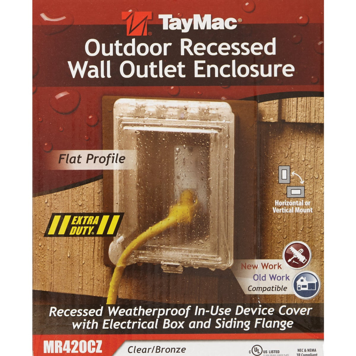 TayMac Bronze Vertical/Horizontal Non-Metallic Recessed Outdoor Outlet Kit Image 2