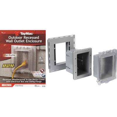 TayMac Gray Vertical/Horizontal Non-Metallic Recessed Outdoor Outlet Kit