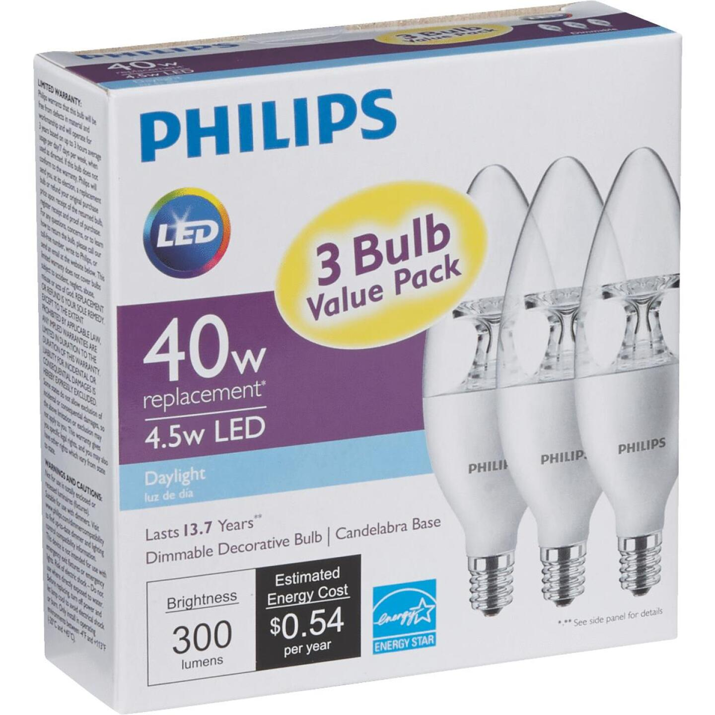 Philips 40W Equivalent Daylight B11 Candelabra Dimmable LED Decorative Light Bulb (3-Pack) Image 3