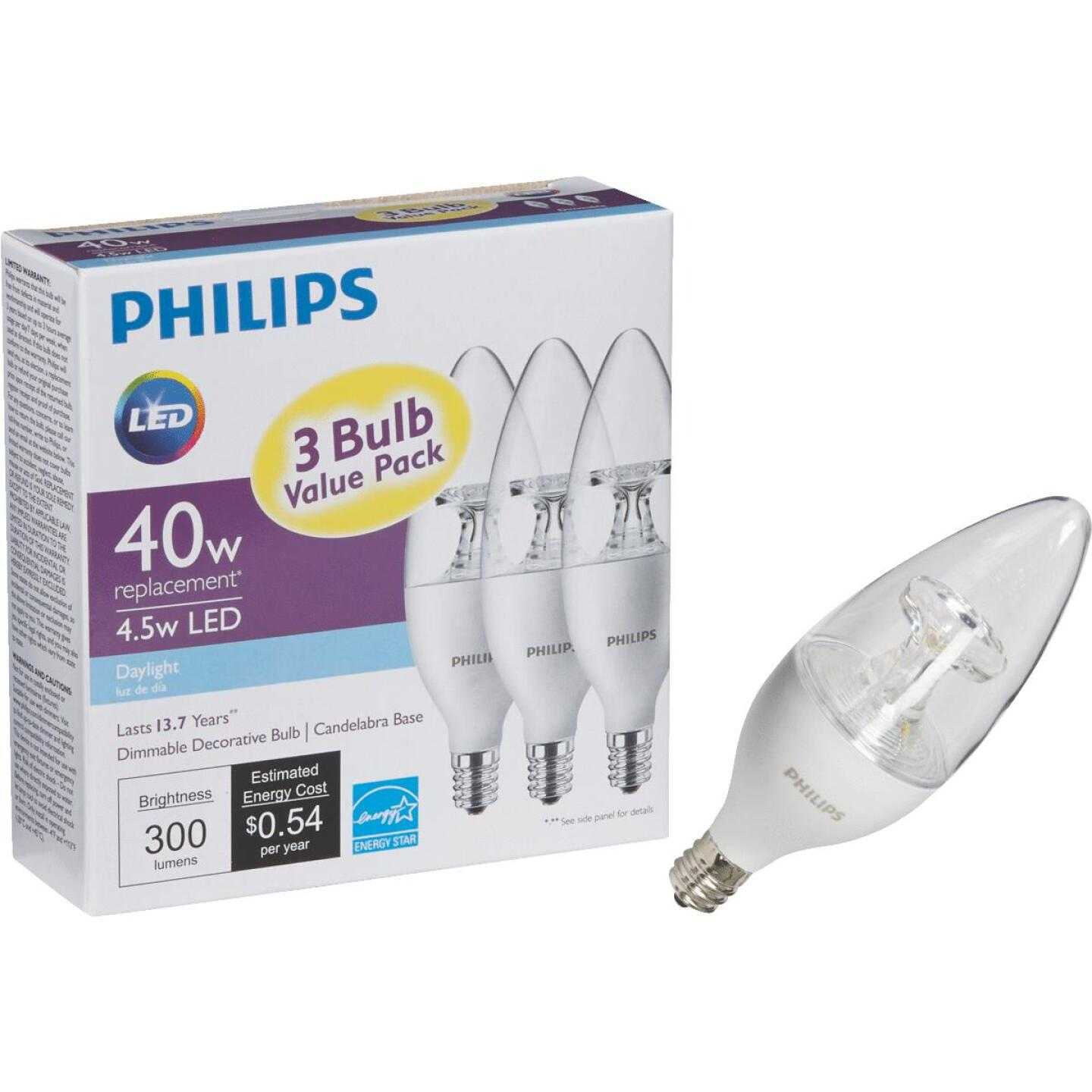 Philips 40W Equivalent Daylight B11 Candelabra Dimmable LED Decorative Light Bulb (3-Pack) Image 1