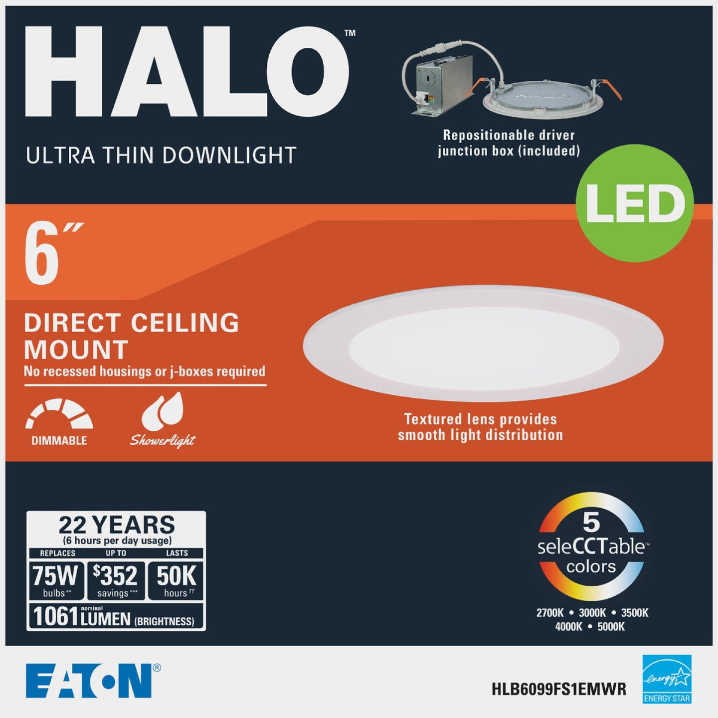 Halo 6 In. Retrofit Selectable Color Temperature Ultra Thin LED Recessed Light Kit, 1100 Lm. Image 2