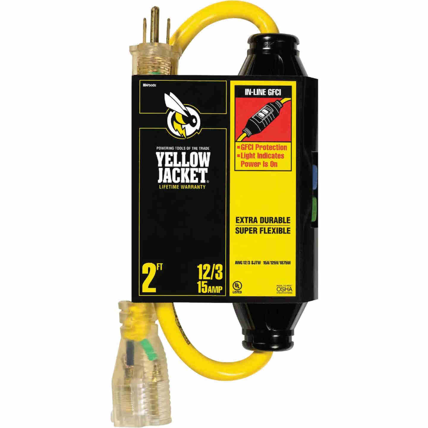 Yellow Jacket 2 Ft. 12/3 Contractor Grade GFCI Extension Cord Image 1