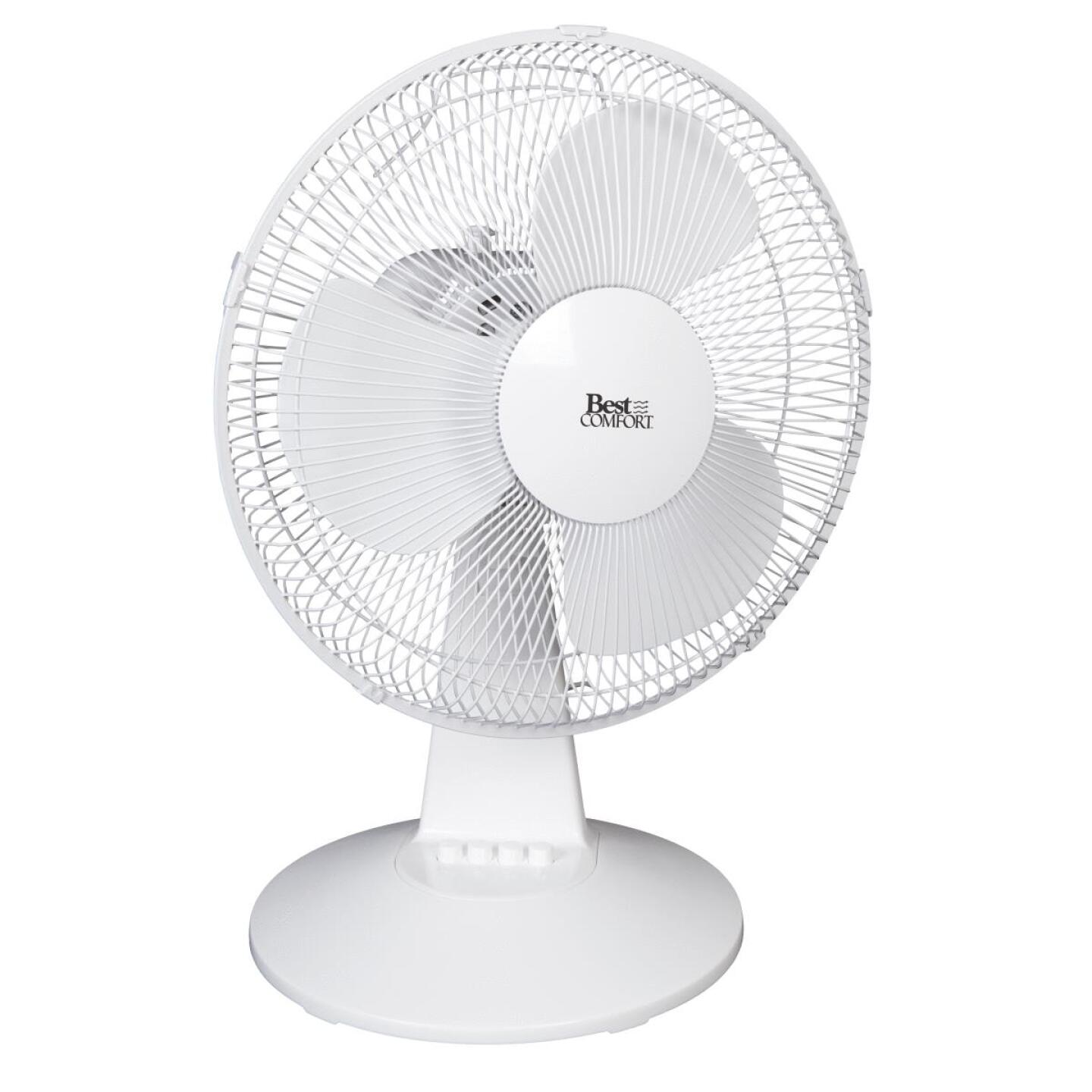 Best Comfort 12 In. 3-Speed White Oscillating Table Fan Image 1