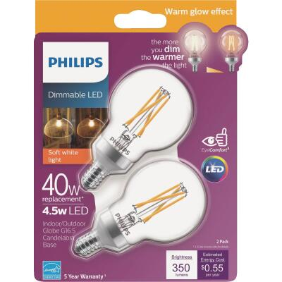 Philips Warm Glow 40W Equivalent Soft White G16.5 Candelabra Dimmable LED Decorative Light Bulb (2-Pack)