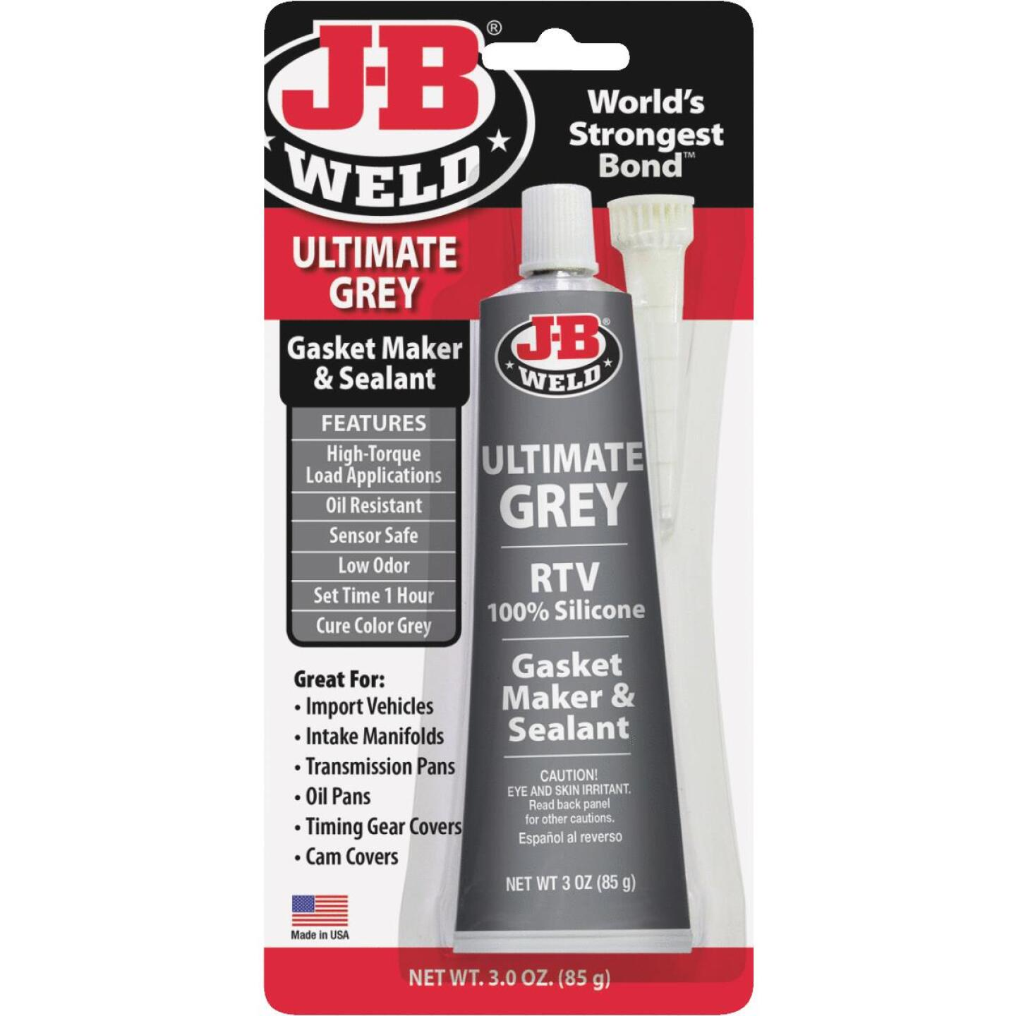 J-B Weld 3 Oz. Ultimate Grey RTV Silicone Gasket & Sealant Image 1