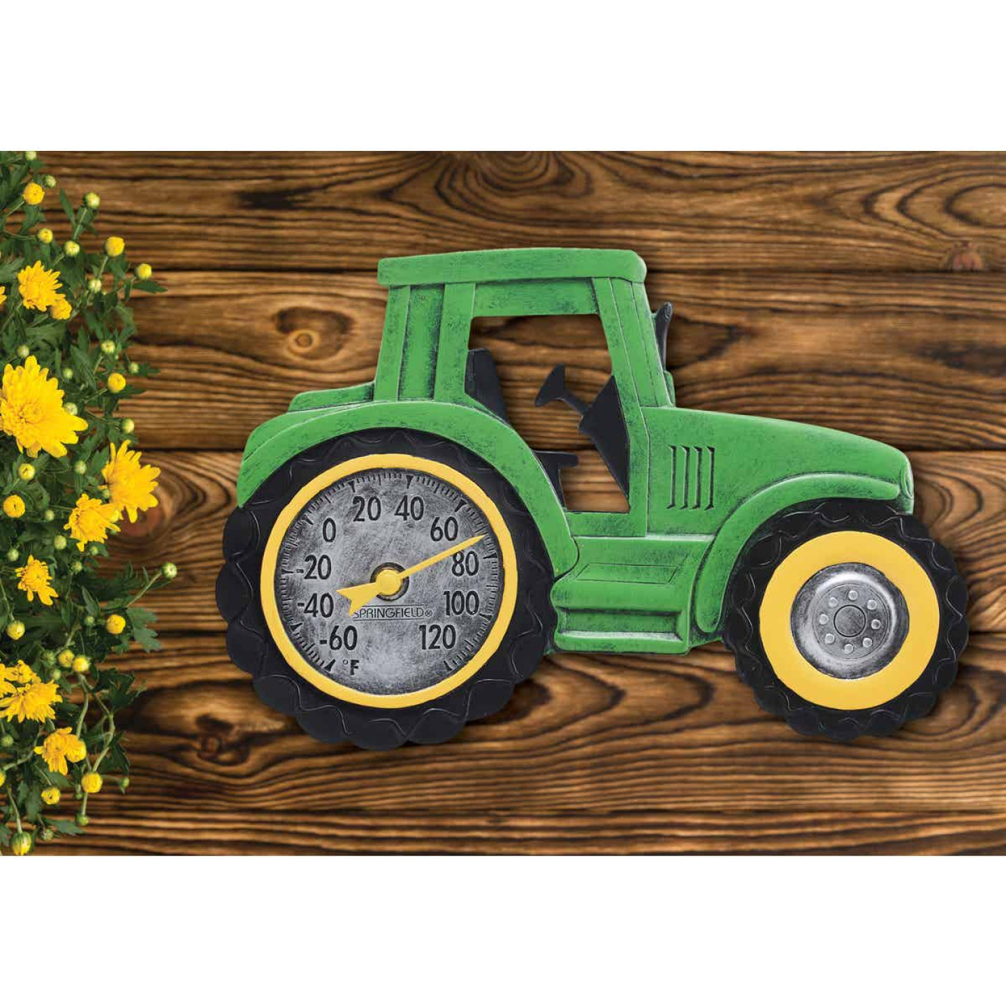 Taylor SpringField 14 In. x 9.5 In. Green Tractor Indoor & Outdoor Thermometer Image 2