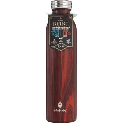 Manna 20 Oz. Mahogany Retro Insulated Vacuum Bottle