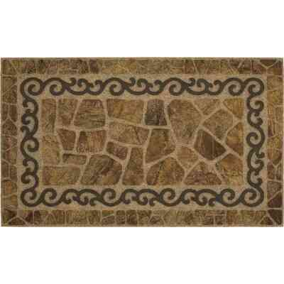 Mohawk 18 In. x 30 In. Brown Scroll & Stone Recycled Rubber Mat