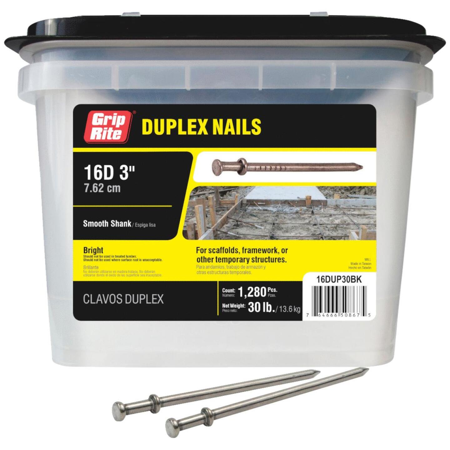 Grip-Rite 16d x 3 In. Bright Duplex Framing Nails (1280 Ct., 30 Lb.) Image 1