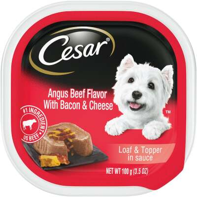 Cesar Loaf & Topper Angus Beef with Bacon & Cheese Adult Wet Dog Food, 3.5 Oz.