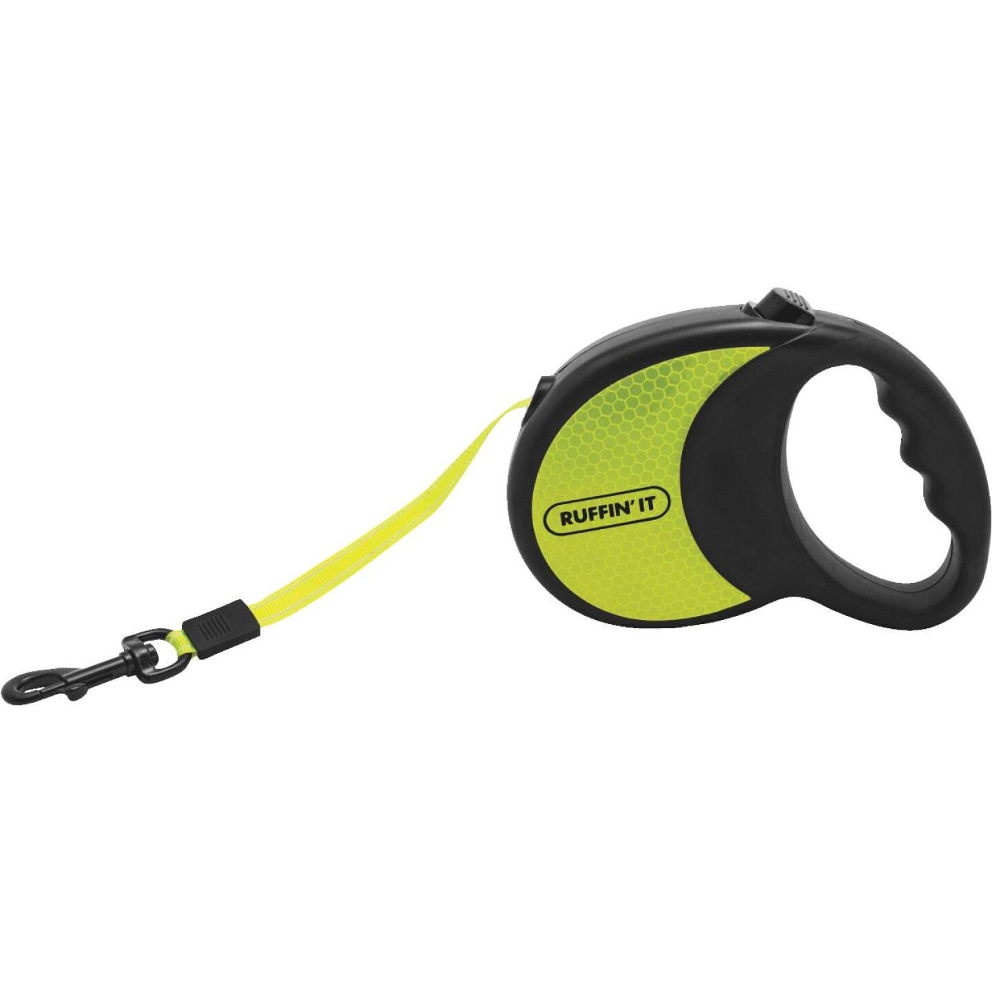 Westminster Pet Ruffin' it Up to 50 Lb. 16 Ft. Webbed Reflective Neon Yellow Retractable Leash Image 2