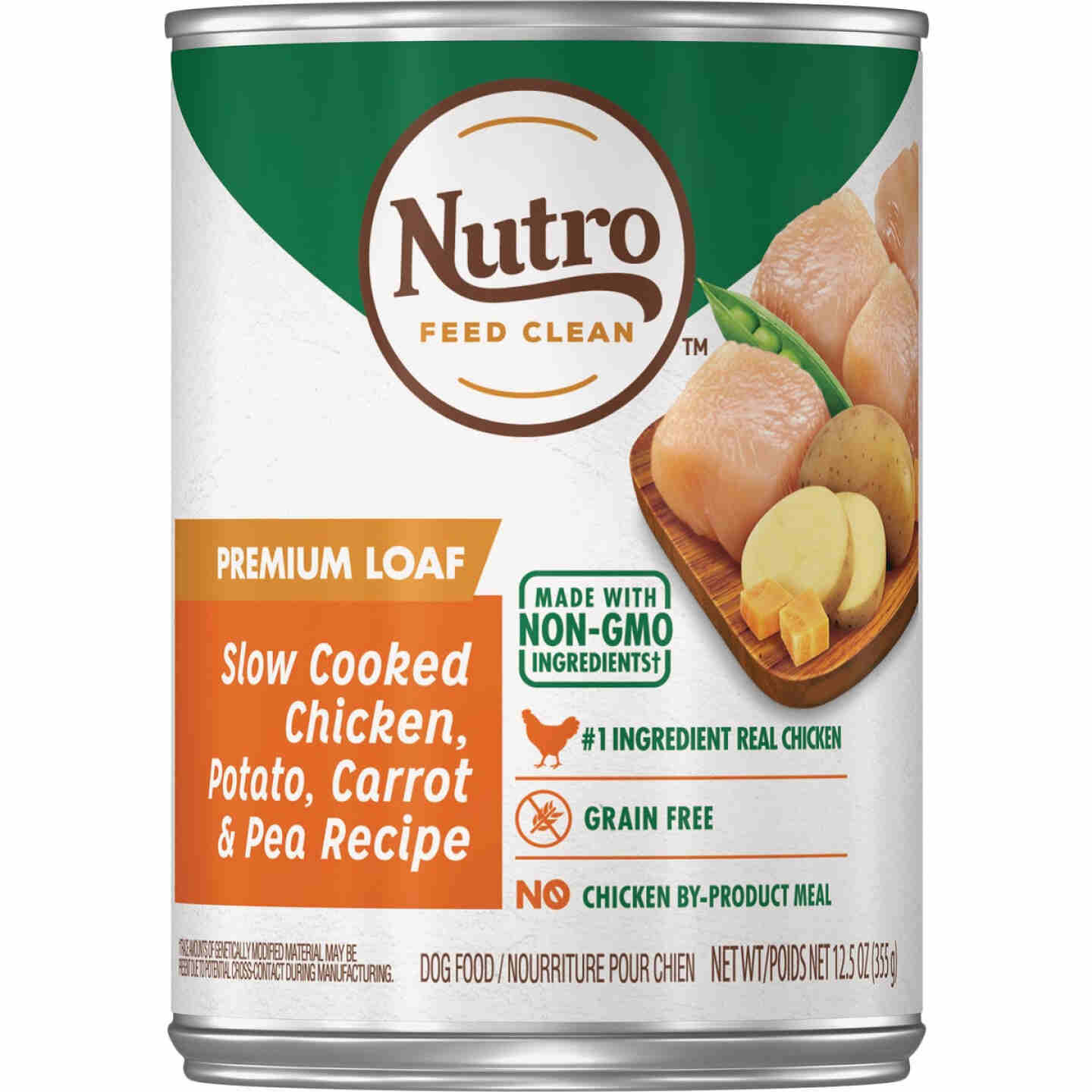 Nutro Grain Free Premium Loaf Slow Cooked Chicken, Potato, Carrot, & Pea Adult Wet Dog Food, 12.5 Oz. Image 1