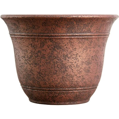 Listo Sierra 9.63 In. H. x 13 In. Dia. Rustic Redstone Poly Flower Pot