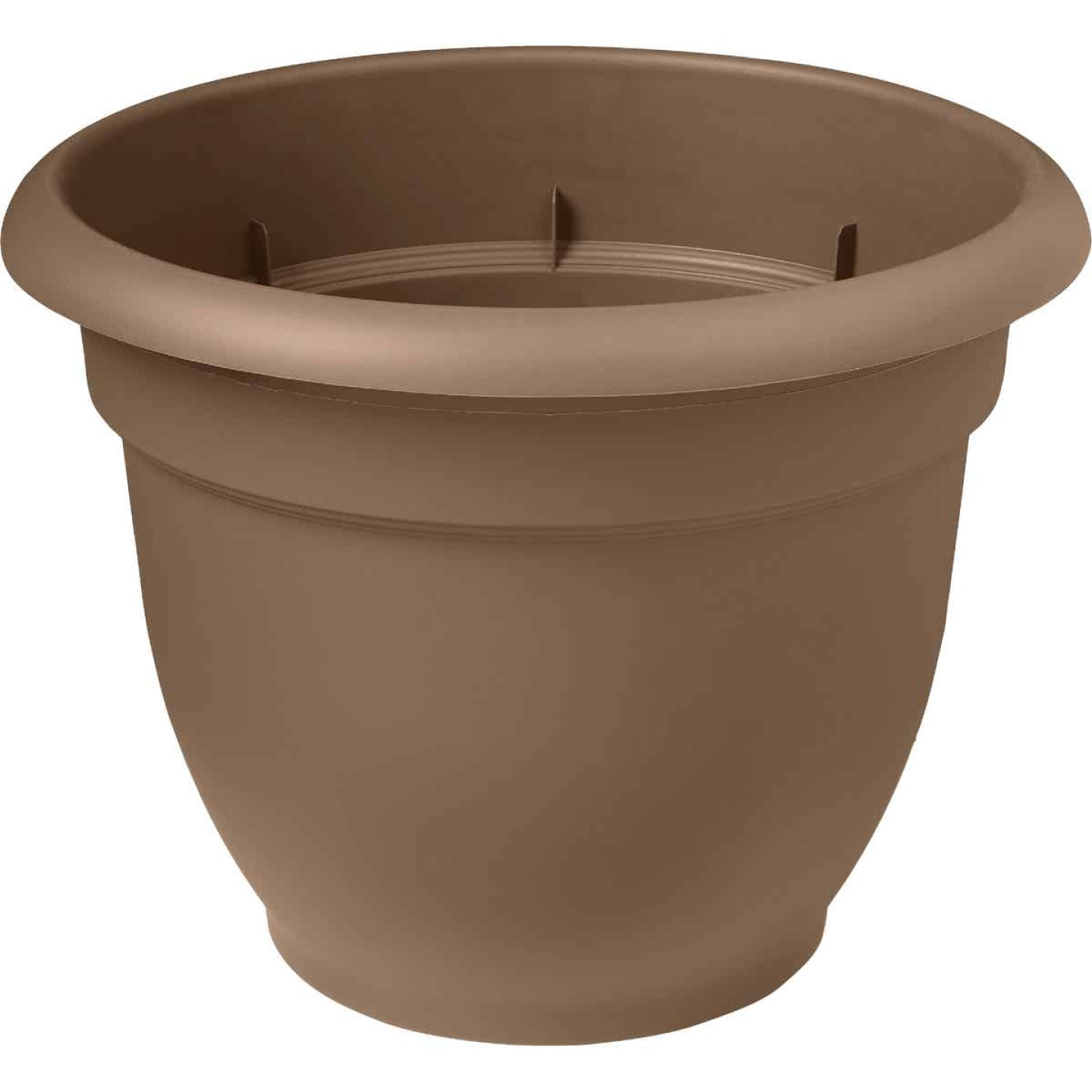 Bloem Ariana 13.75 In. H. x 16 In. Dia. Plastic Self Watering Chocolate Planter Image 1