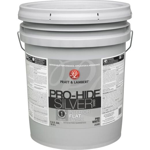 Pratt & Lambert Pro-Hide Silver 5000 Latex Flat Interior Wall Paint, Pro White, 5 Gal.