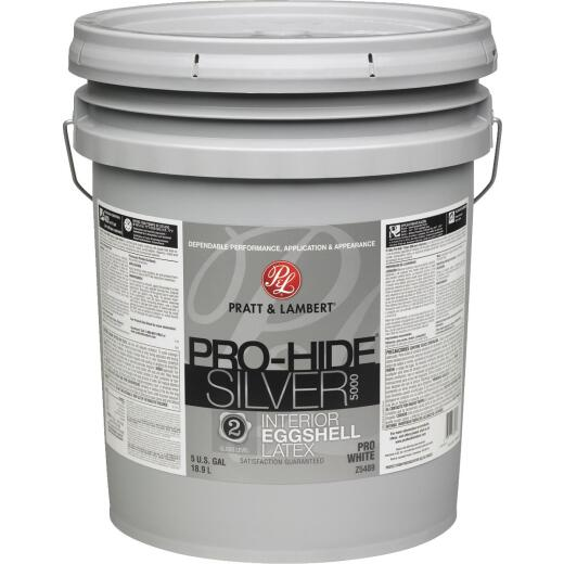 Pratt & Lambert Pro-Hide Silver 5000 Latex Eggshell Interior Wall Paint,Pro White, 5 Gal.
