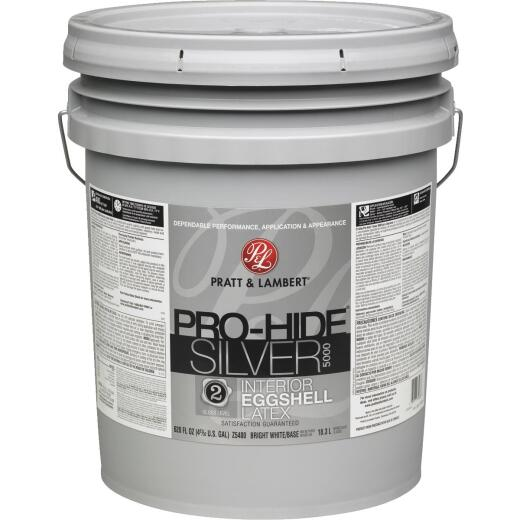 Pratt & Lambert Pro-Hide Silver 5000 Latex Eggshell Interior Wall Paint, Bright White Base, 5 Gal.