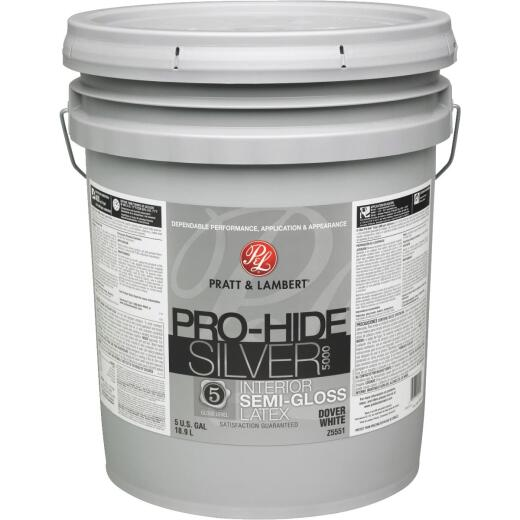 Pratt & Lambert Pro-Hide Silver 5000 Latex Semi-Gloss Interior Wall Paint, Dover White, 5 Gal.