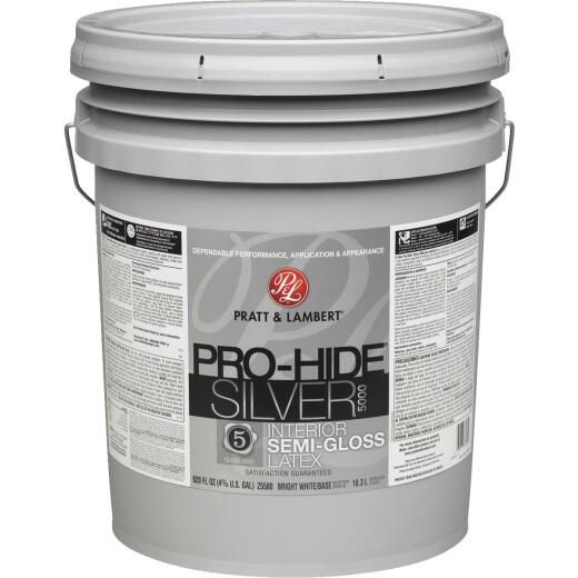 Pratt & Lambert Pro-Hide Silver 5000 Latex Semi-Gloss Interior Wall Paint, Bright White Base, 5 Gal.