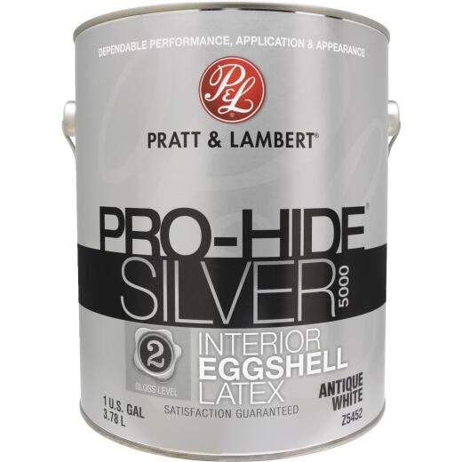Pratt & Lambert Pro-Hide Silver 5000 Latex Eggshell Interior Wall Paint, Antique White, 1 Gal.