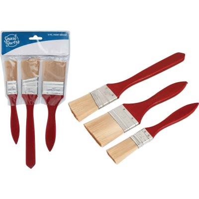 Smart Savers 1 In. Flat, 1-1/2 In. Flat, 2 In. Flat Polyester Assorted Paint Brush Set (3-Pack)