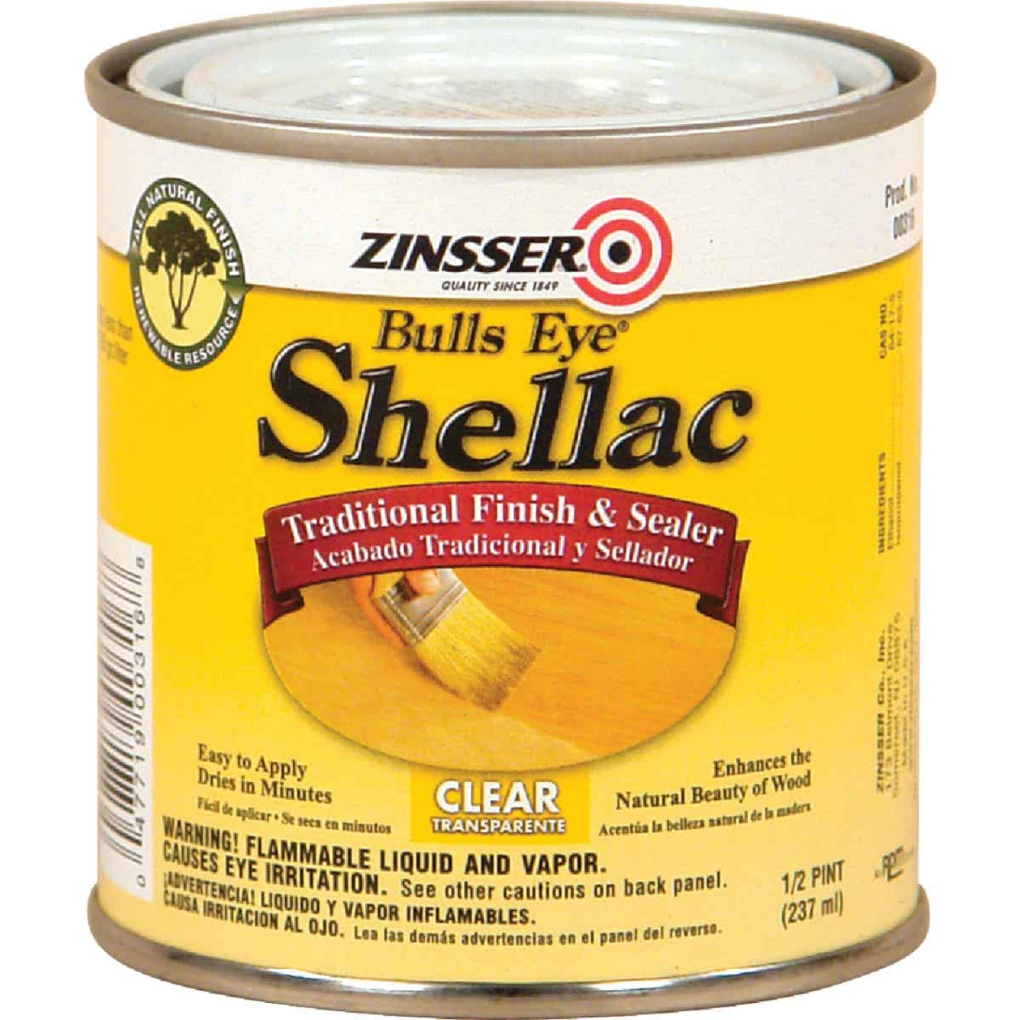 Zinsser Bulls Eye Clear Shellac, 1/2 Pt. Image 1