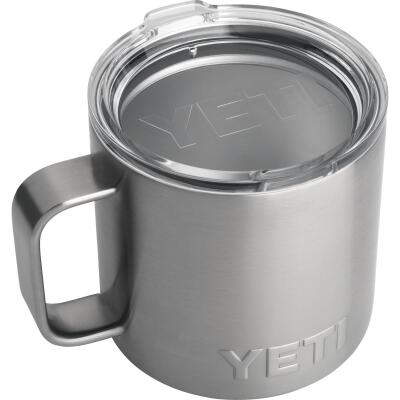Yeti Rambler 14 Oz. Silver Stainless Steel Insulated Mug