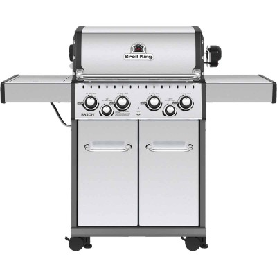 Broil King Baron S490 4-Burner Stainless Steel 40,000-BTU LP Gas Grill with 10,000-BTU Side -Burner