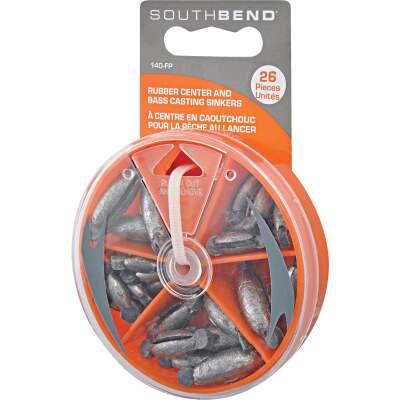 SouthBend 26-Piece Rubber Center Sinker Kit Assortment